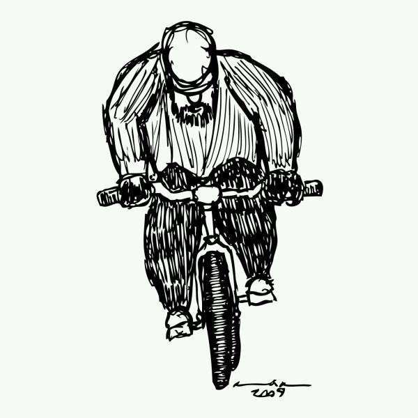 Biking Man Print by Karl Addison