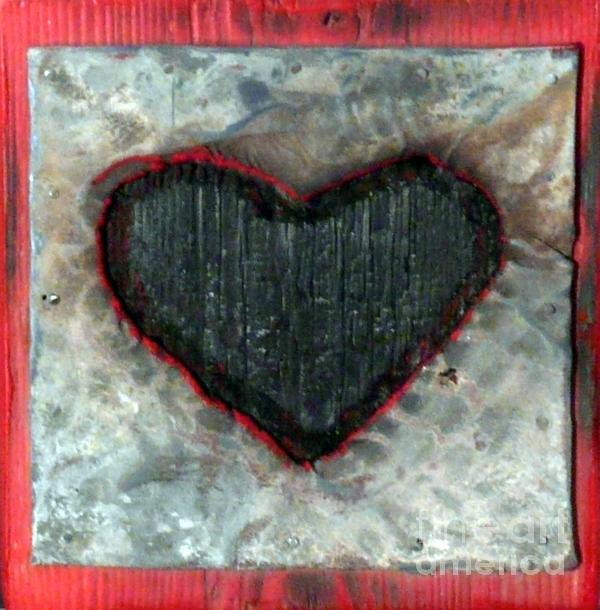 Black Heart Print by Jane Clatworthy