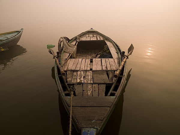 Boat In The Water, Varanasi, India Print by Keith Levit