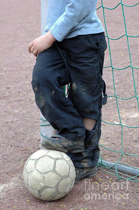 Boy With Soccer Ball Print by Matthias Hauser
