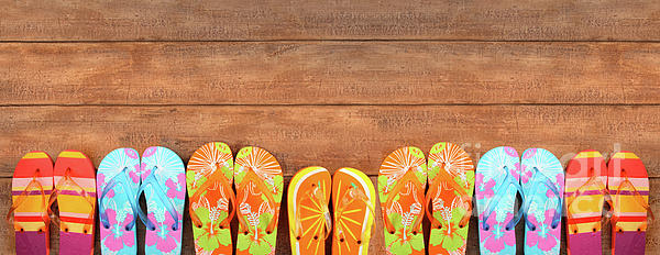 Brightly Colored Flip-flops On Wood  Print by Sandra Cunningham