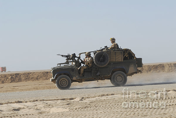 British Soldiers Patrol Afghanistan Print by Andrew Chittock