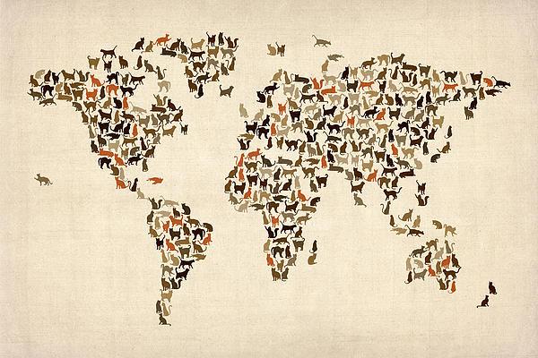 Michael Tompsett - Cats Map of the World Map