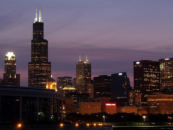 Chicago With A Purple Sky Print by Dan Susek