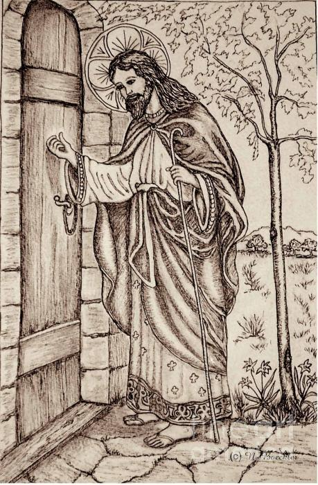 Christ Knocking At The Door Drawing  - Christ Knocking At The Door Fine Art Print