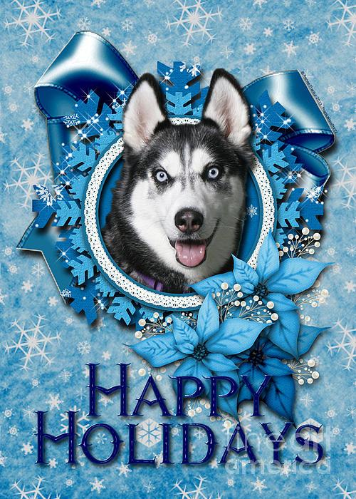 Christmas - Blue Snowflakes Siberian Husky Print by Renae Laughner