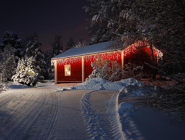 Christmas House Print by Roman Rodionov