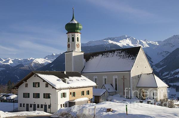 Church In Winter Print by Matthias Hauser