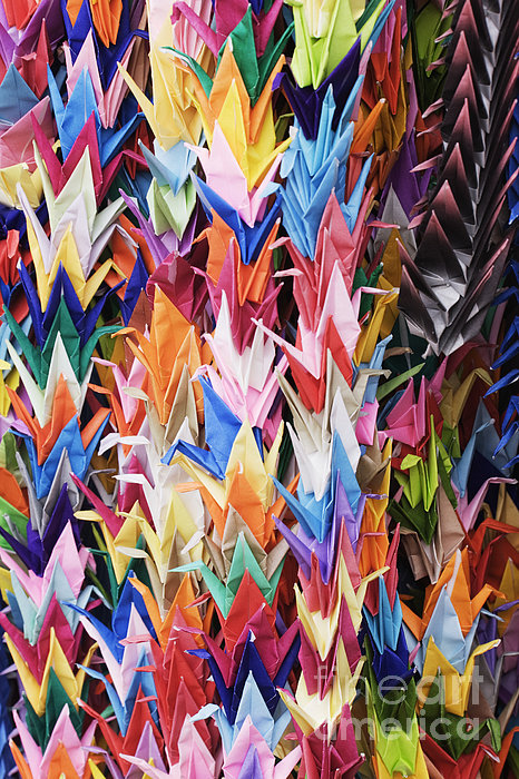 Colorful Origami Cranes Print by Jeremy Woodhouse