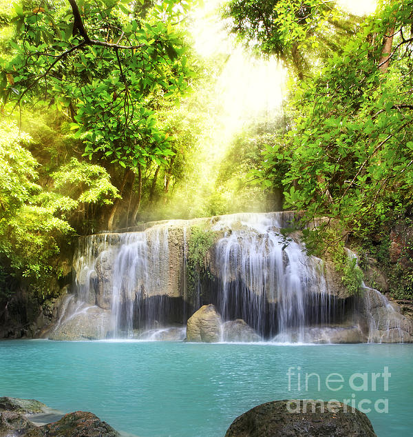 Erawan Waterfall Print by Anek Suwannaphoom