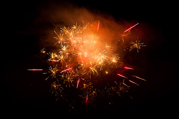 Firework Display At New Year's Eve Print by Olaf Broders