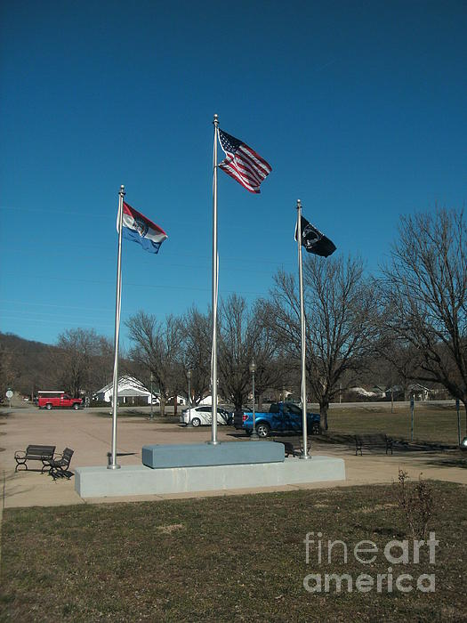 Flags With Blue Sky Print by Kip DeVore