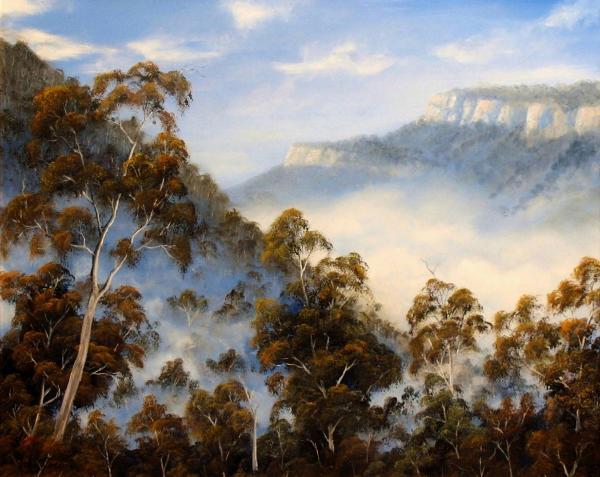 Fog Below The Escarpments Painting