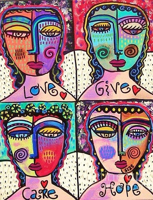 Four Gemstone Angels  Print by Sandra Silberzweig