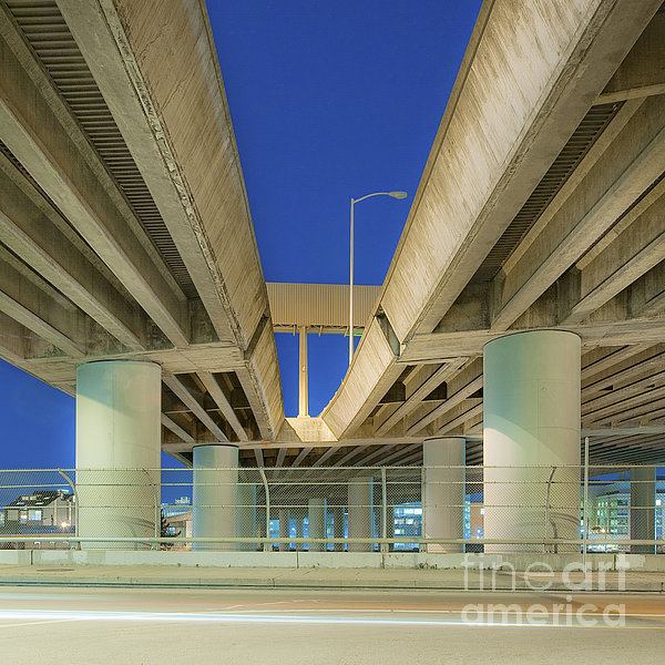 Freeway Overpass Support Structure At Night Print by Eddy Joaquim