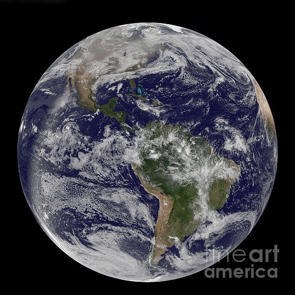 Full Earth Showing North America Print by Stocktrek Images