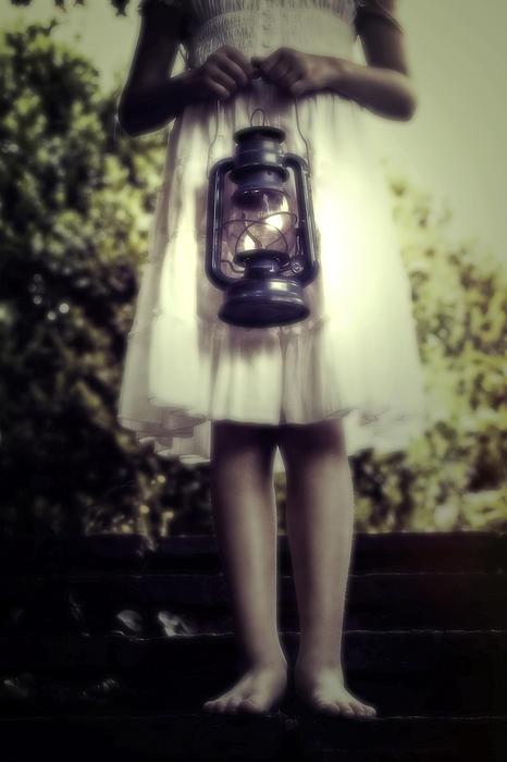 Girl With Oil Lamp Print by Joana Kruse