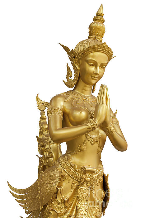 Goldent Ginnaree Statue Art  Print by Anek Suwannaphoom