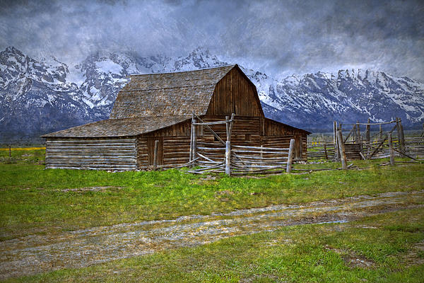 Grand Teton Iconic Mormon Barn Fence Spring Storm Clouds Print by John Stephens