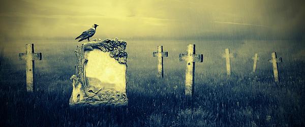 Gravestones In Moonlight Print by Jaroslaw Grudzinski
