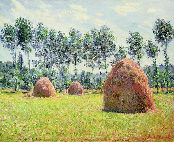 Haystacks At Giverny Print by Claude Monet