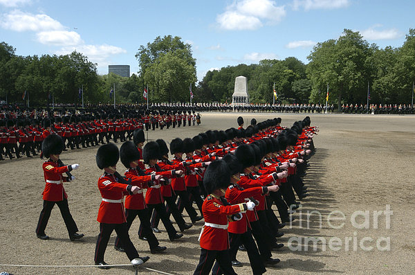 Irish Guards March Pass During The Last Print by Andrew Chittock