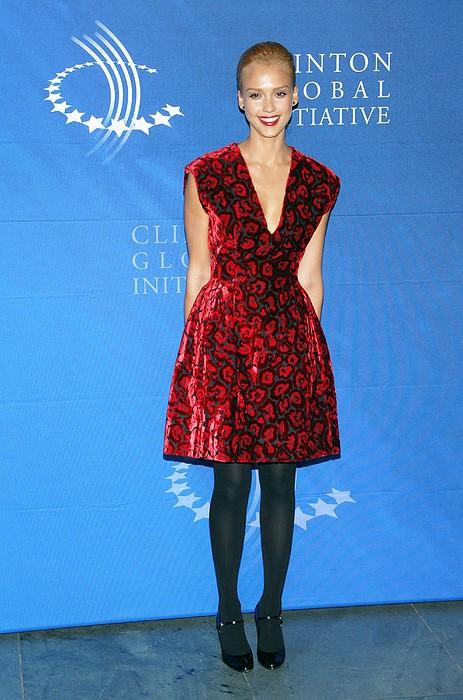 Jessica Alba Wearing A Prada Dress Print by Everett