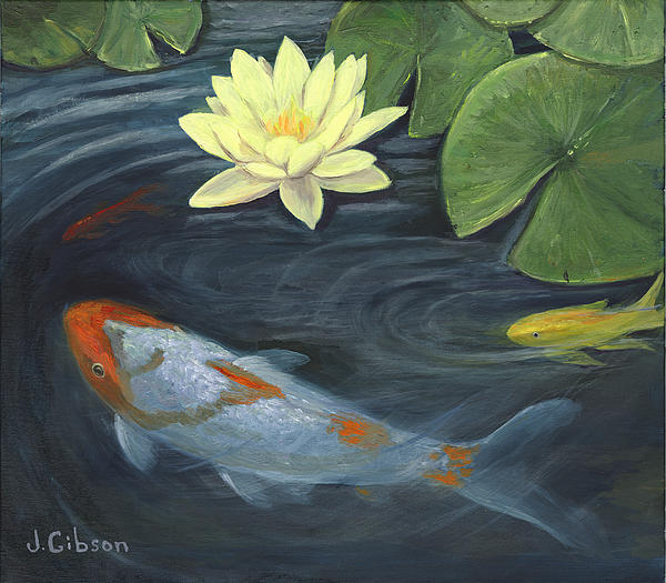 Koi fish pond painting for Koi fish pond art
