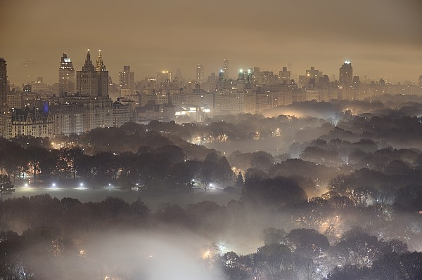 Light Pollution And Fog Combine To Blur Print by Jim Richardson