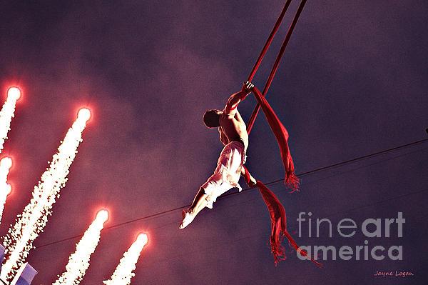 Man Dancing Sky High On Silks Print by Jayne Logan Intveld