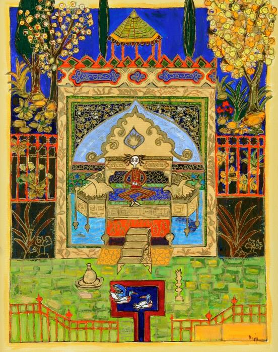 Meditating Master In Courtyard With Ducks Print by Maggis Art