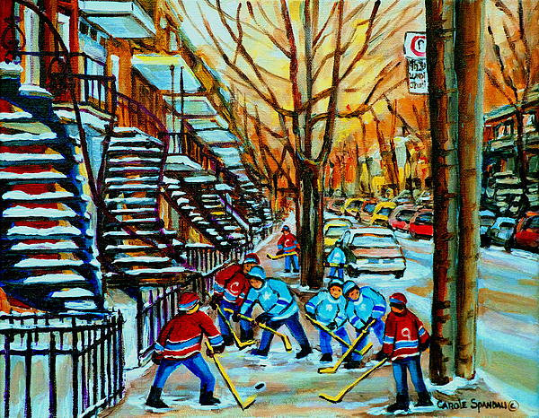 Montreal Hockey Paintings Print by Carole Spandau