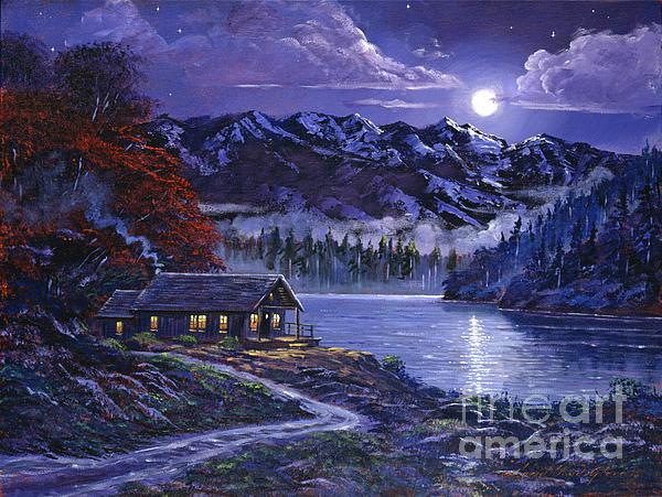 Moonlit Cabin Print by David Lloyd Glover