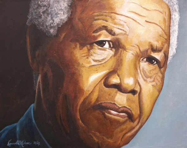 Nelson Mandela Print by Kenneth Kelsoe