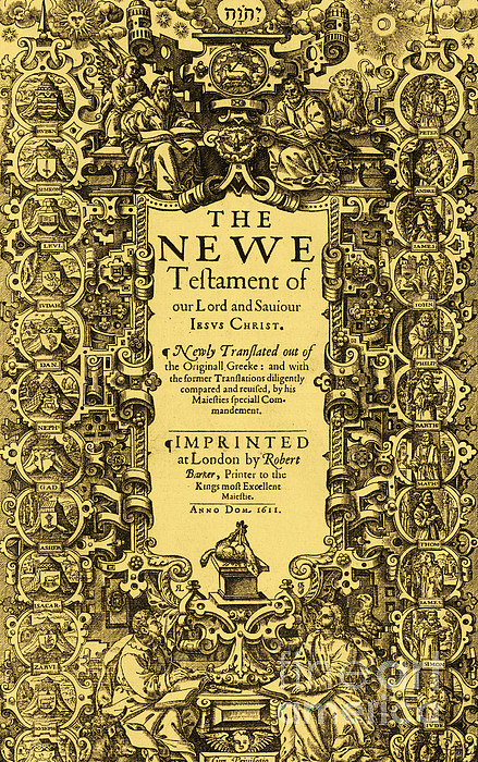 New Testament, King James Bible Print by Photo Researchers
