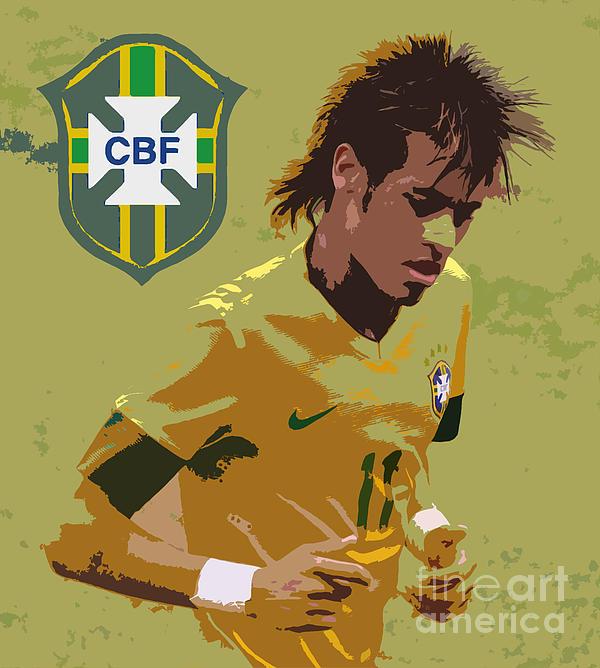 Neymar Art Deco Print by Lee Dos Santos