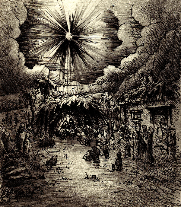 Night In Bethlehem Print by Rachel Christine Nowicki