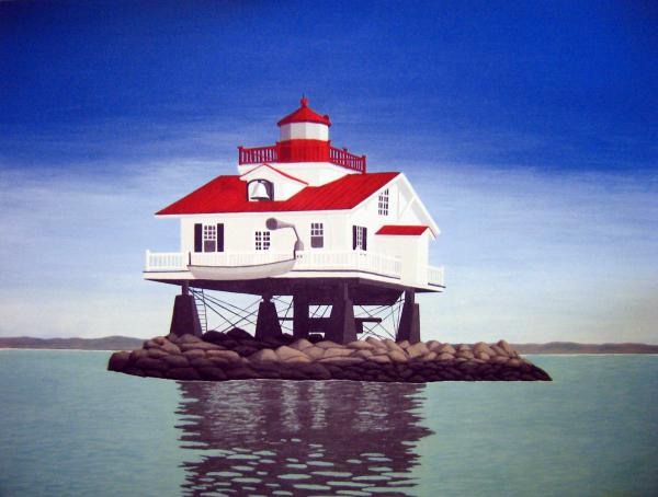 Old Plantation Flats Lighthouse Painting