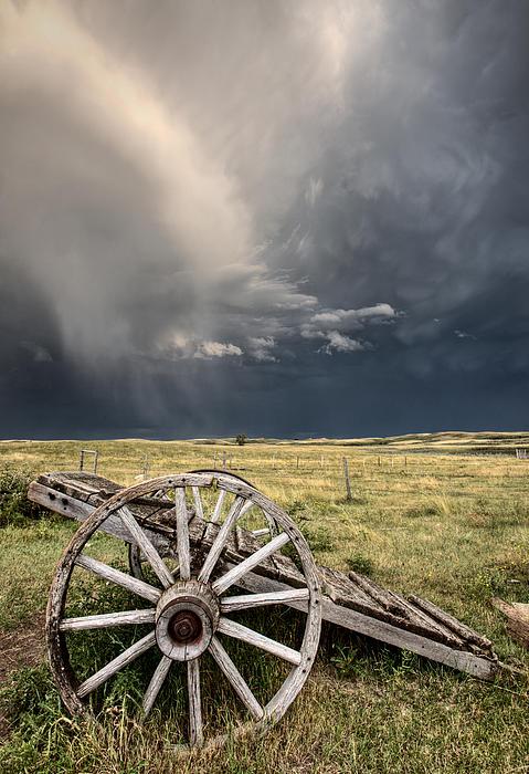 Old Prairie Wheel Cart Saskatchewan Print by Mark Duffy