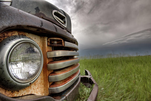Old Vintage Truck On The Prairie Print by Mark Duffy