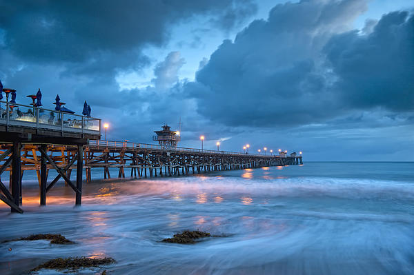 Pier In Blue Print by Gary Zuercher