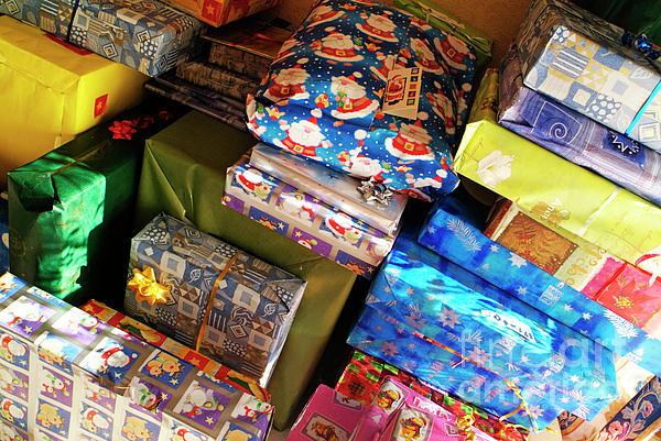 Pile Of Christmas Presents Print by Sami Sarkis