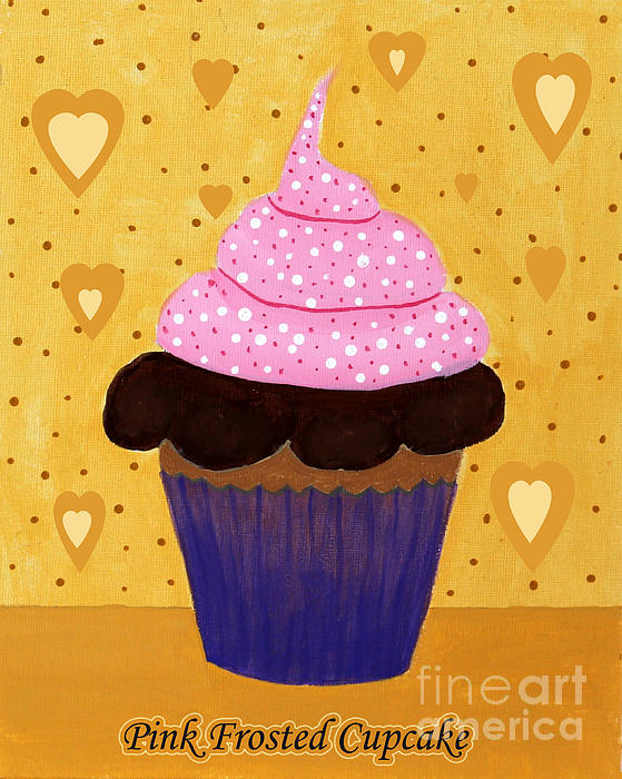 Pink Frosted Cupcake Print by Barbara Griffin