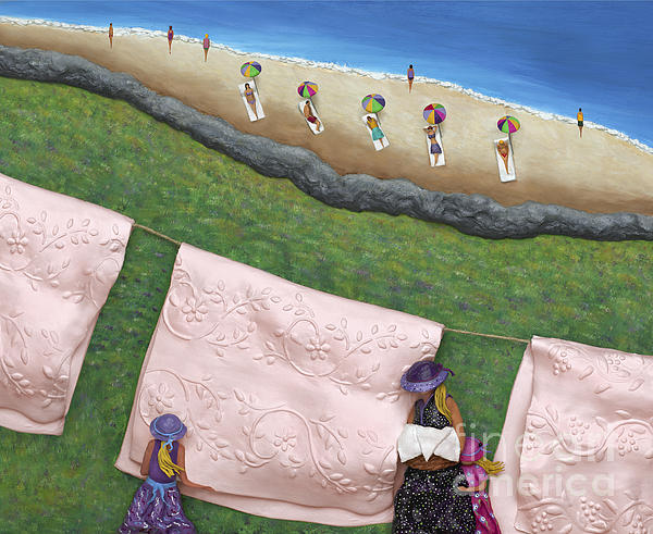 Pink Linen Print by Anne Klar
