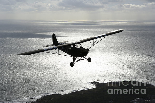 Piper L-4 Cub In Us Army D-day Colors Print by Daniel Karlsson