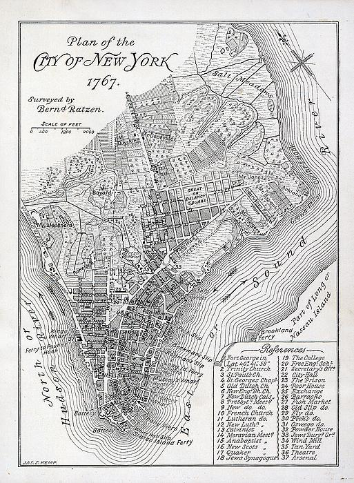 Plan Of The City Of New York Print by American School