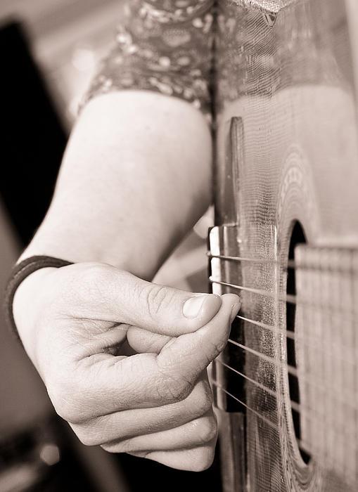 Playing Guitar Print by Tom Gowanlock