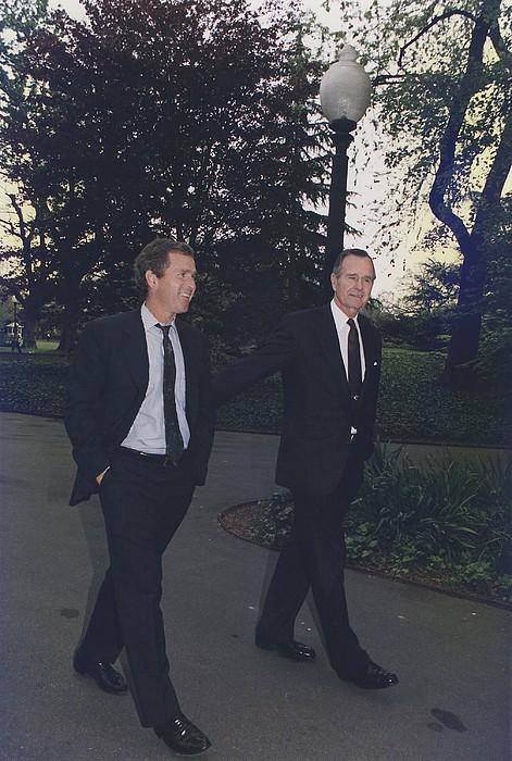 President George H.w. Bush Walks Print by Everett