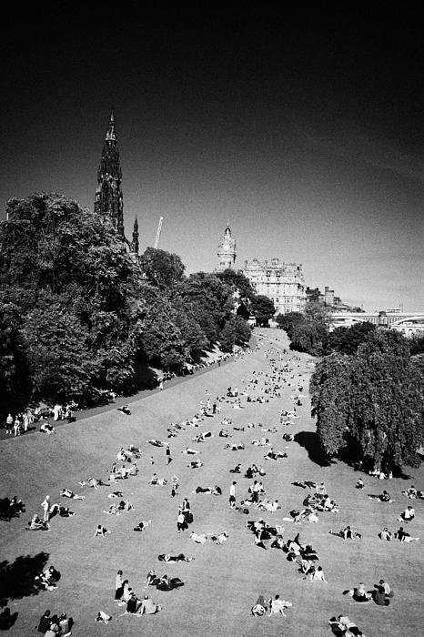 Princes Street Gardens On A Hot Summers Day In Edinburgh Scotland Uk United Kingdom Print by Joe Fox