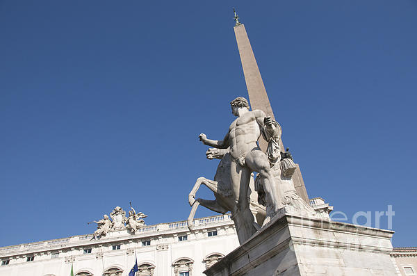 Quirinal Obelisk In Front Of Palazzo Del Quirinale. Rome Print by Bernard Jaubert